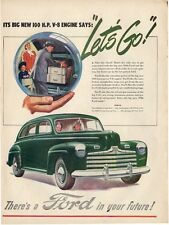 1946 FORD Green 4-door ART PRINT AD-
