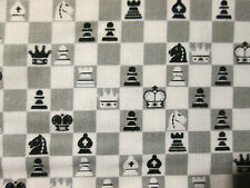 Chess Game Board Pieces Cotton Fabric Fq