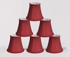 "Urbanest Chandelier Mini Lamp Shades,5"",Bell Silk,Burgundy, Braid Trim,Set of 6"