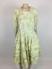 Vintage 70's Women's Dress Swing Full Circle Dance Floral Lace Polyester B28