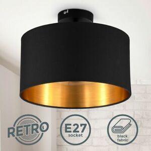 Deckenleuchte schwarz gold Stoffschirm E27 30cm Schlafzimmer-Lampe Wohnzimmer