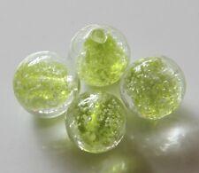 """25pcs 12mm Round """"Glow-in-the-Dark"""" Glass Beads - Peridot Green"""