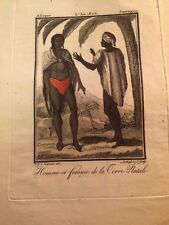 AFRIQUE DU SUD. HOMME ET FEMME de la TERRE-NATALE. GRAVURE EN COULEURS DE 1806