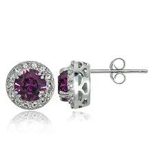 Sterling Silver Purple and Clear Swarovski Elements Halo Stud Earrings