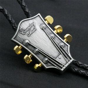 "Guitar Head Mens Bolo Tie Wedding Necklace PU Leather Rope 40"" Western Cowboy"