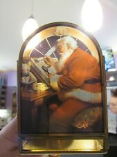 Enesco Brass Stained Glass Style Santa Nice Naughty List Christmas Candle Holder