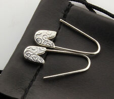 1'' long Handmade in Usa Sterling Silver safety pin earrings (Pair)