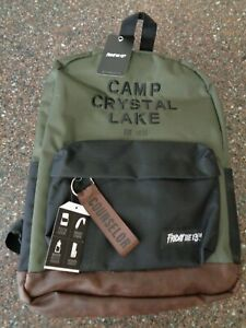 """Friday The 13th Camp Crystal Lake """"Counselor"""" Backpack Green, Faux Leather Jason"""