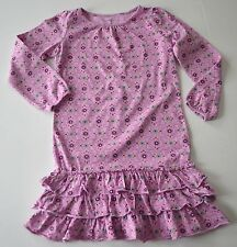 Girls LANDS' END Sz 6X Lavender Purple Floral Tiered Ruffle l/s Dress