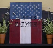 """""""God Shed His Grace On Thee"""" Patriotic Wooden Sign - 22117"""