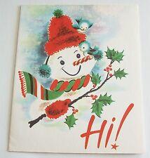 Vintage Mid-Century Greeting Christmas Card - Snowman & Bluebirds