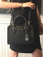 NWT Michael Kors Dillon Small Top Zip Satchel Leather Black Bag $228