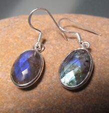 925 sterling silver everyday cut labradorite stone earrings. Gift bag.