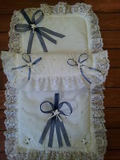 Navy/White Pram Set with SWAROVSKI Crystals for Dolls Silver Cross Pram.