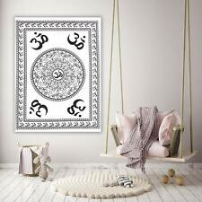 Cotton White Color Religious Om Chakra Wall Hanging Handmade Tapestry Poster Art