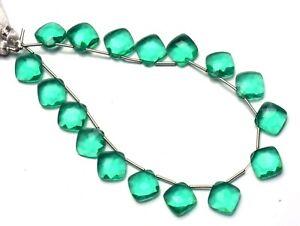 "10"" Emerald Gem Color Hydro Quartz Faceted 11MM Cushion Shape Beads 15 Strands"