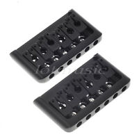 2 Sets Black 6 String Electric Guitar Fixed Hardtail Bridge Height Adjustable
