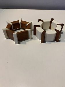 HANDCRAFTED LOT X 2 CARVED WOOD WITH WHITE PLASTIC COMBINATION STRETCH BRACELETS