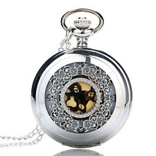 Antique Style Silver Hollow Pocket Watch Gold Dial Steampunk Necklace Pendant