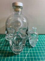 Lot of 2 Crystal Head Vodka Clear Glass Skull Liquor Bottle Decanter 750ML 50ML