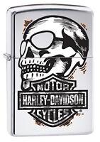 Zippo Harley Davidson Skull Lighter With Harley Logo, 29281, New In Box