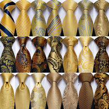 Mens Tie Gold Yellow Brown Paisley Solid Striped Silk Necktie Pocket Square Set