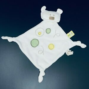 Dandelion Bear Lovey Security Blanket Cream Knots Crinkle Yellow Green Circles