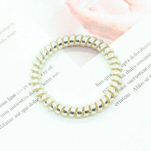 Elastic Rubber Coil Hair Ties Band Rope Womens Traceless Ponytail Hair Ring 2pcs