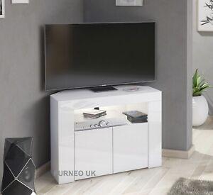 Corner TV Stand White High Gloss &Matt Unit Small Cabinet LED Lights Clifton07