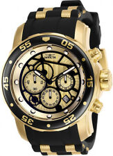 Invicta Men's Pro Diver Chrono 100m Gold-Plated S. Steel Silicone Watch 25709