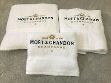 MOET & CHANDON SET OF 3 LUXURY TOWELS CONTAINS HAND, BATH & BATH SHEET WHITE