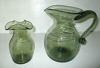 HAND BLOWN GREEN ART GLASS LARGE PITCHER & VASE
