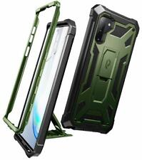 Galaxy Note 10 Case,Poetic [w/Kick-stand] Leather Texture Cover Metallic Green