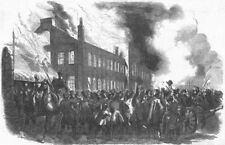 CANADA. Burning of houses assembly, Montreal, antique print, 1849
