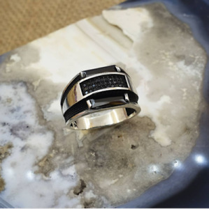 SOLID 925 STERLING SILVER MENS JEWELRY BAGUETTE CUT BLACK ONYX MENS RING