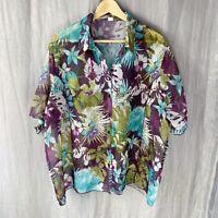 *VINTAGE* Purple Multi Floral Hawaii SIZE 24/26 UK Sheer Short Sleeve Blouse V1