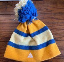 Vintage Gerry Beanie Striped Wool  Hat Warm Cozy Pom Outdoor Blue Yellow