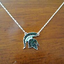 new! MICHIGAN STATE UNIVERSITY SPARTANS GREEN CRYSTAL PENDANT NECKLACE jewelry