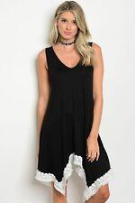 Women's Black Sleeveless Relaxed Shirt Dress V-Neck Lace Trim Casual