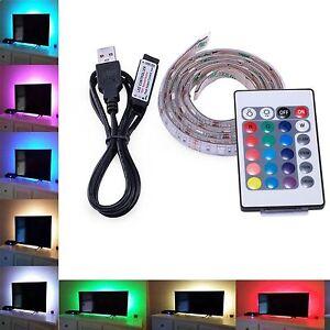 5V USB RGB MULTICOLOUR SMD5050 LED STRIP REMOTE CONTROL BACKLIGHT NOTEBOOK PC TV
