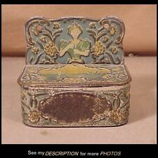 Victorian Paint Decorated Tin Wall Match Safe / Holder Lady & Boat on a Lake
