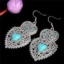 Women's Luxury Tibetan Silver Turquoise Heart Party Earrings Stud Jewellery Gift
