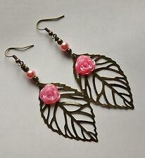 filigree leaf earrings rose flower bronze bead pink hooks 80mm dangle hooks