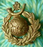 WW1 Royal Marine Light Infantry Cap Badge BRASS 2 Lugs SUPER Antique ORIGINAL
