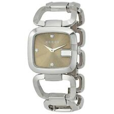Gucci AUTHENTIC Medium 125.4 Diamond Brown Dial G-Gucci Women's Watch, YA125401