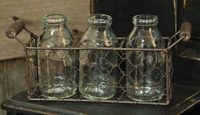 Rusty CHICKEN WIRE Basket w/ 3 Small Vintage Reproduction Milk Bottles