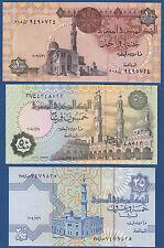 Ägypten / EGYPT 25 + 50 Piastres + 1 Pound UNC P.50k , 57f, , 62l