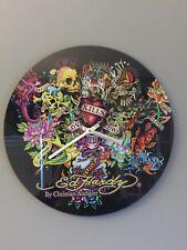 "New ListingEd Hardy by Christian Audigier ""Love Kills Slowly� Glass Wall Clock Vintage"