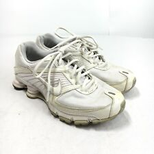 Nike Shox Turbo 8 Womens 8.5 White Leather Lace Up Athletic Running Shoes 344948