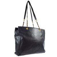 CHANEL CC Chain Shoulder Tote Bag Purse Black Caviar Skin 4714241 Auth AK31855k
